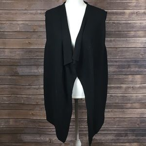 Apt. 9 Black Asymmetrical Sleeveless Cardigan